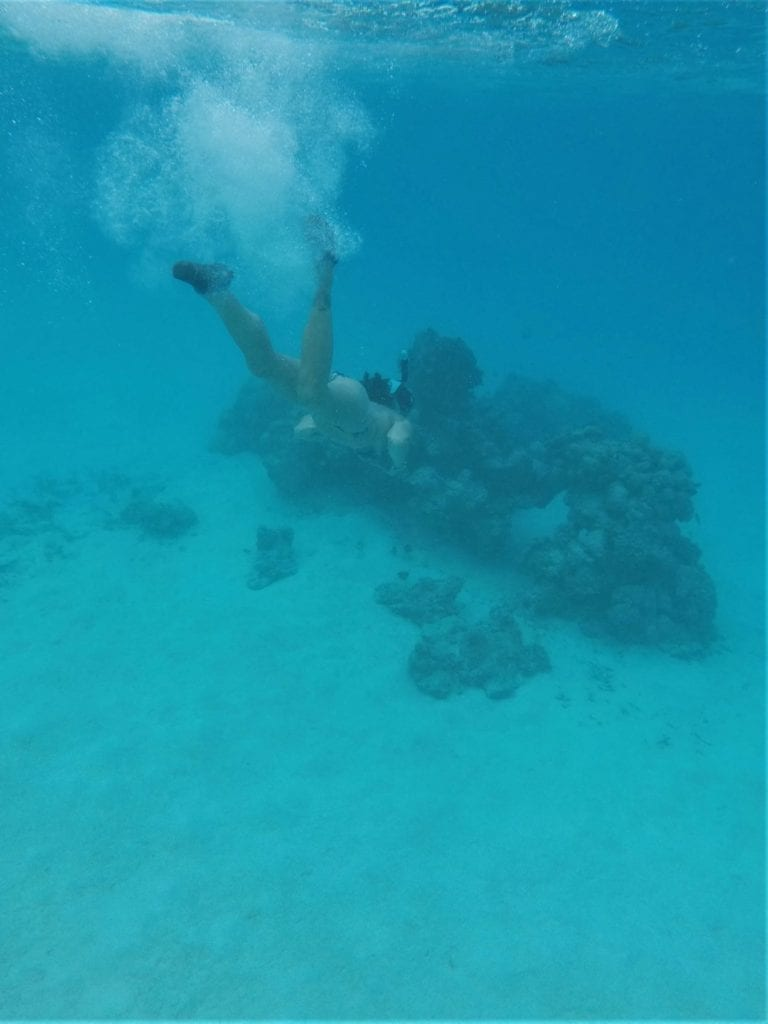 Me diving to the bottom of the sea in the Maldives while snorkelling to see what different tropical fish I can find