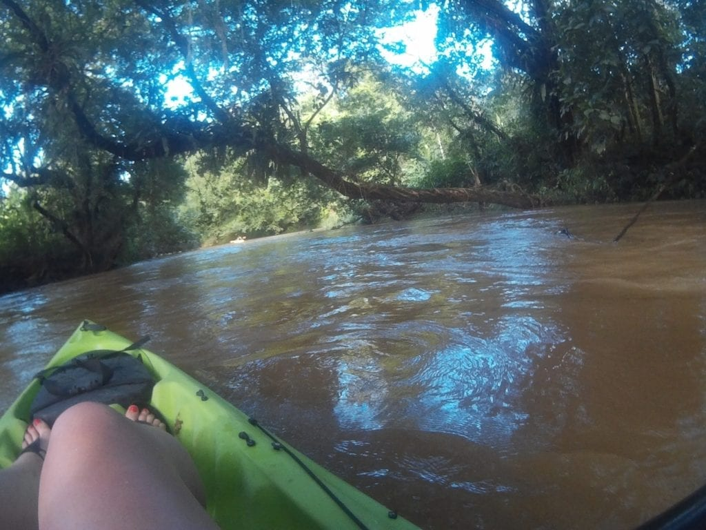 Top adventurous things to do in Costa Rica - kayaking down the strong currents in the jungle