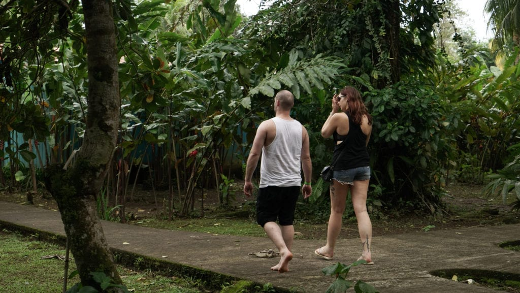 Pros and Cons of Group Tours - Two travellers walk together through a very leafy jungle lodge