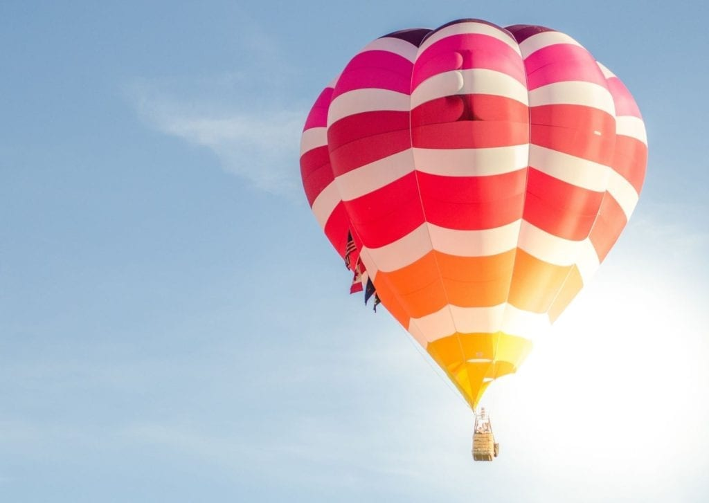 Epics things to do in Marrakech - colourful hot air balloon high in the sky